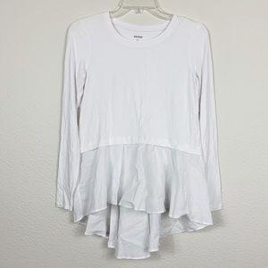 Kensie White Long Sleeve Ruffle Peplum T Shirt B36